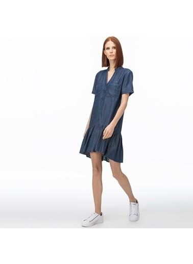 Lacoste Kadın V Yaka Denim Elbise EF0015T.15L Lacivert